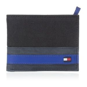 New Tommy Hilfiger Men's Black Canvas Wallet